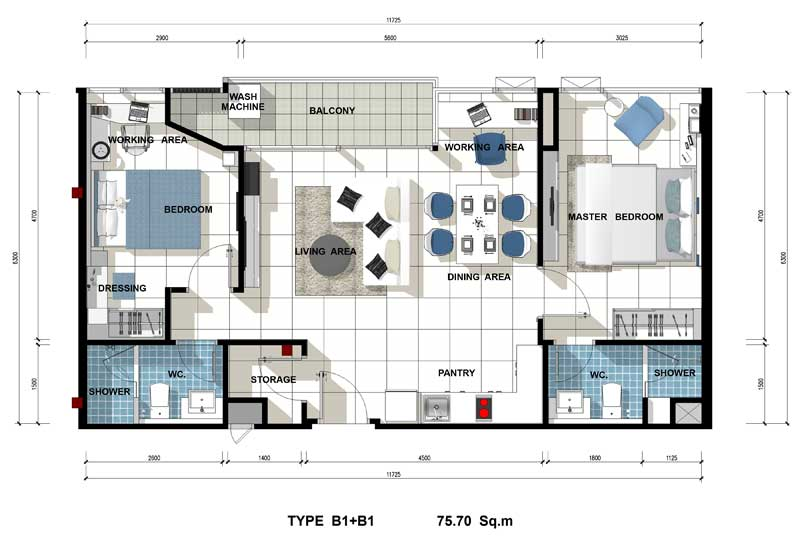 Acqua Condo for Sale Jomtien Roomplan