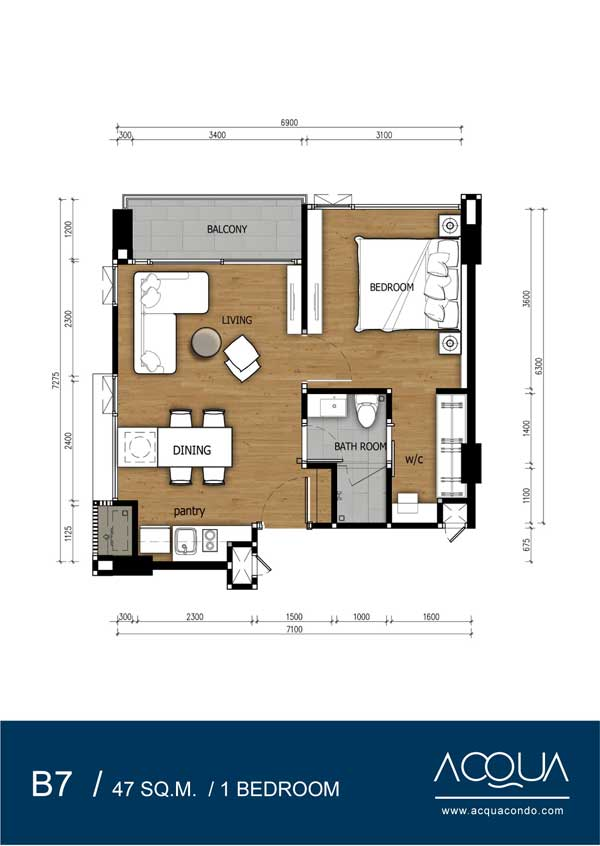 Roomplan-Acqua-Jomtien-rent-real-estate-for-sale